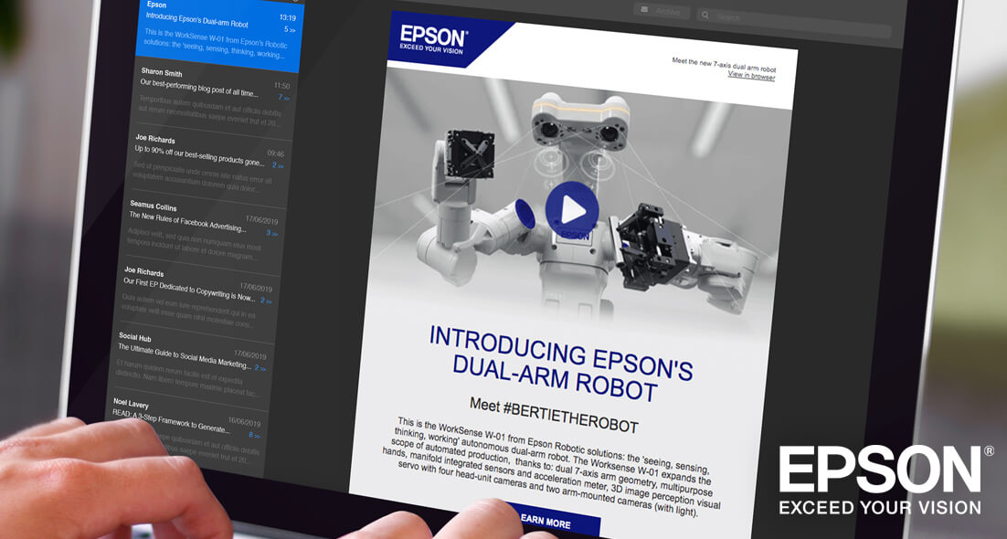 Laptop showing Epson Robots promotional email