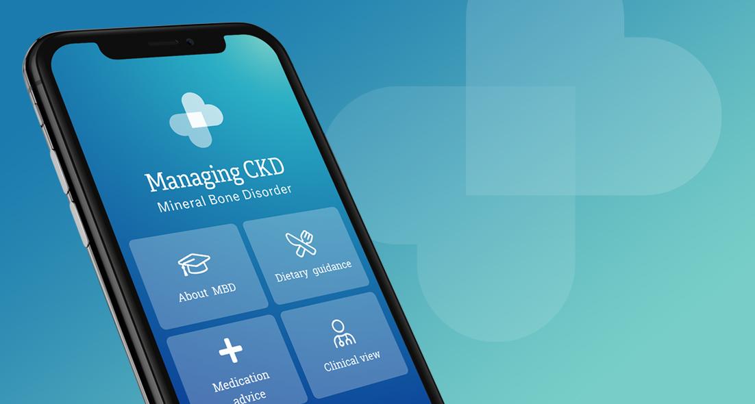 Smartphone showing the main menu screen of the healthcare app – Managing CKD.